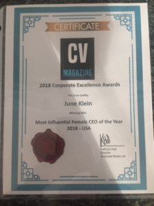Award Recognition June Klein Most Influential CEO of the Year